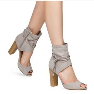 """Leila Stone Sz 8M Taupe """"CHELSY"""" Open Toe Bootie"""